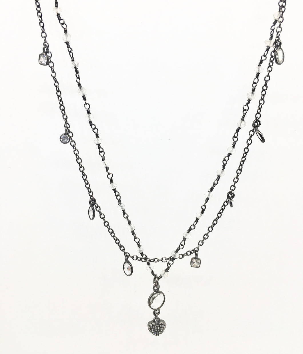 Little Diamond Heart Double Necklace
