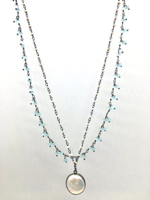 Pearl and Aquamarine Necklace