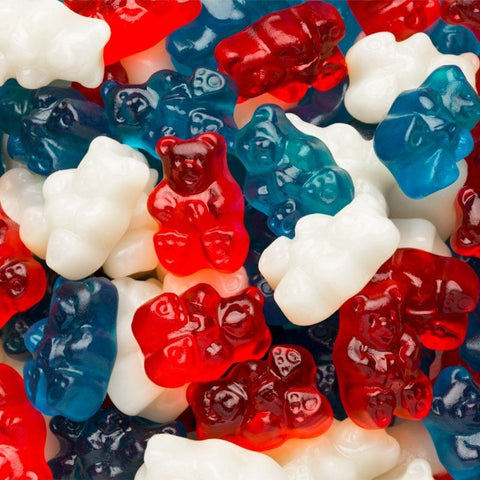 Red, White and Blue Gummi Bears-Half Nuts-Half Nuts