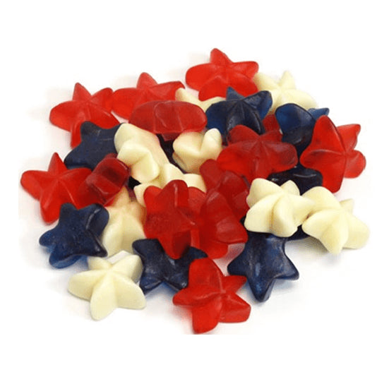 Red, White and Blue Gummi Stars-Half Nuts-Half Nuts