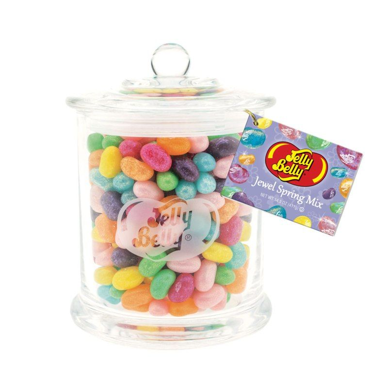Jelly Belly Spring Mix Glass Jar-Half Nuts-Half Nuts