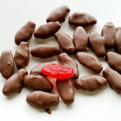 Milk Chocolate Covered Red Swedish Fish-Half Nuts-Half Nuts