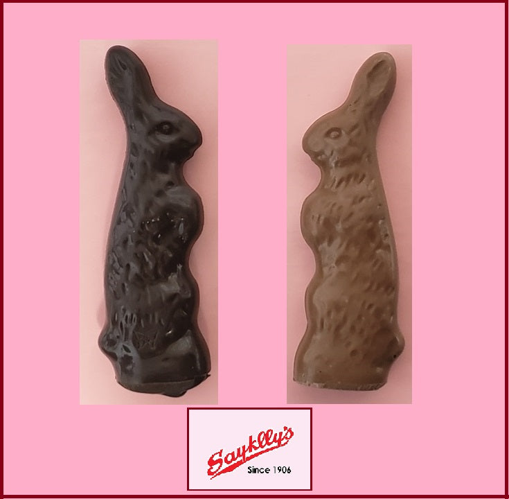 Sayklly's Candies Chocolate Standing Bunny - 1.5 oz.-Half Nuts-Milk-Half Nuts