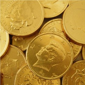 Chocolate Gold Coins - Large - Half Nuts