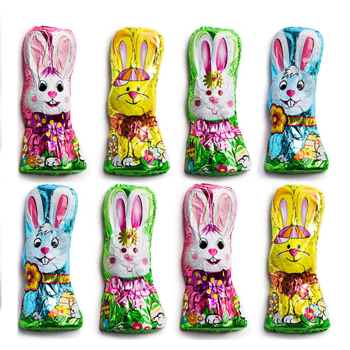 Madelaine Chocolate Foiled Squatty Bunny-Half Nuts-Half Nuts
