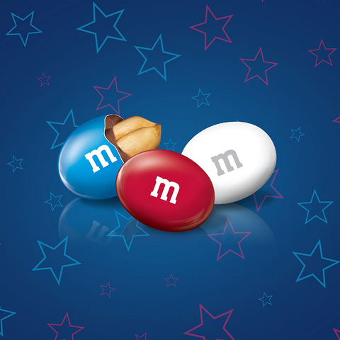 Red, White and Blue Peanut M&Ms-Half Nuts-Half Nuts