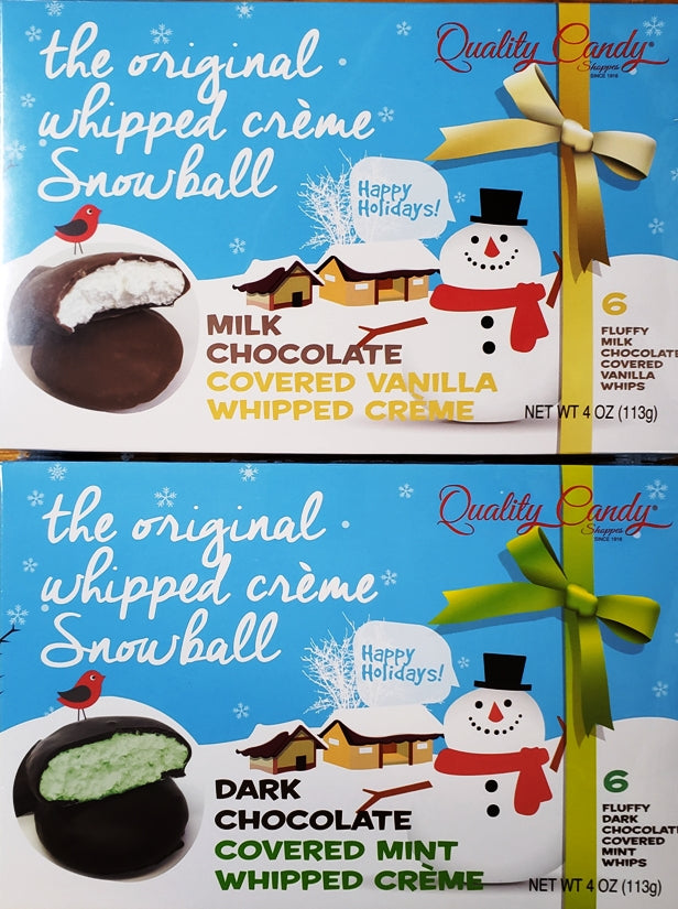 Quality Candy Whipped Creme Snowballs-Half Nuts-Vanilla-Mint-Half Nuts