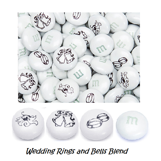 "M&Ms - ""Wedding Rings and Bells"" Blend-Half Nuts-One Pound-Half Nuts"