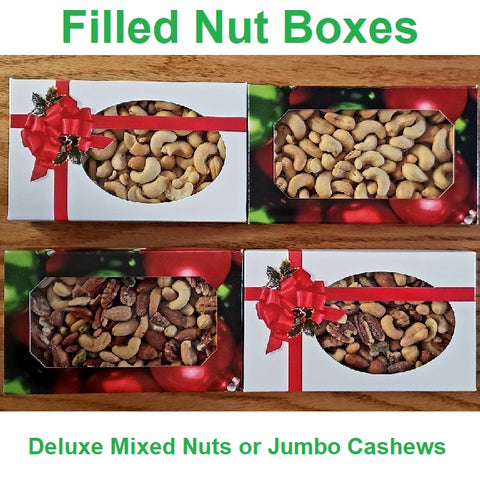 Jumbo Cashews Christmas Gift Box-Half Nuts-One Pound-Ribbon and Holly-Half Nuts
