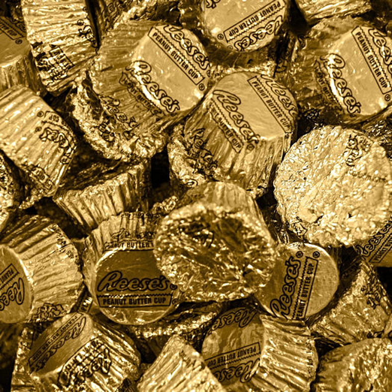 Reese's Peanut Butter Cup gold foiled miniatures