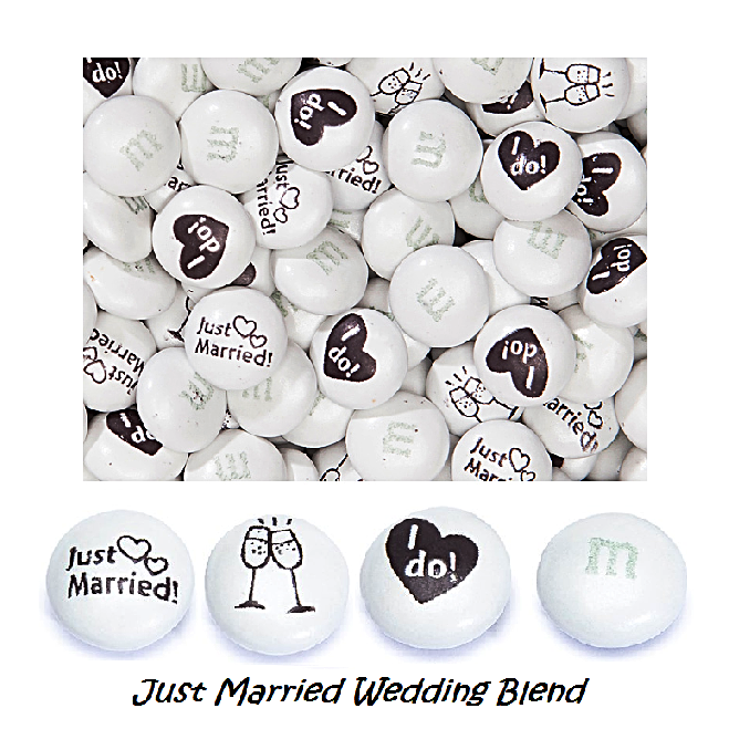 "M&Ms - ""Just Married"" Wedding Blend-Half Nuts-One Pound-Half Nuts"