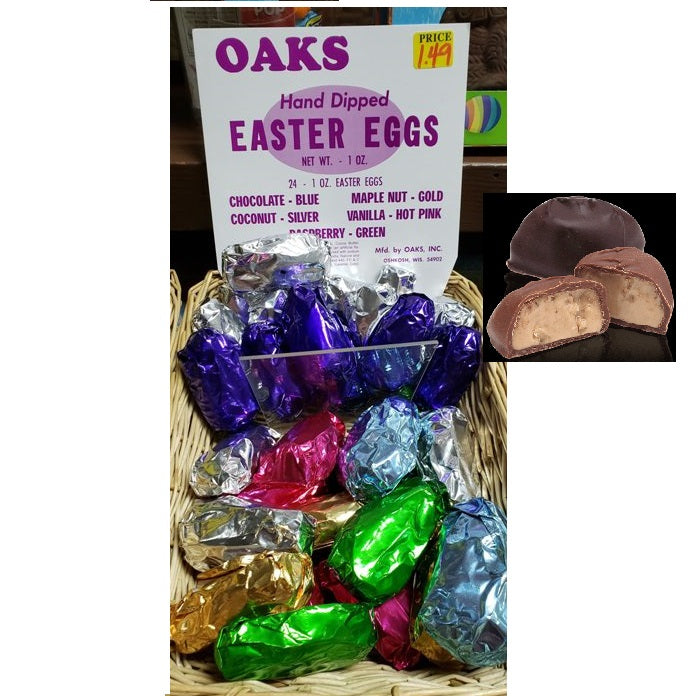 Oaks Hand Dipped Easter Eggs-Half Nuts-Milk Chocolate (Blue)-Half Nuts