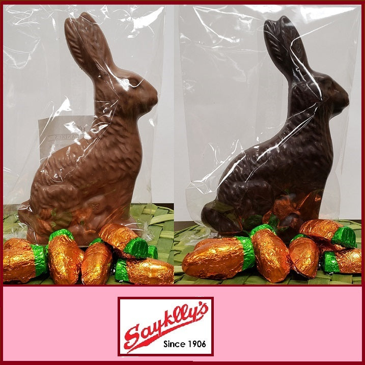 Sayklly's Candies Chocolate Easter Bunny-Half Nuts-One Pound-Milk-Half Nuts