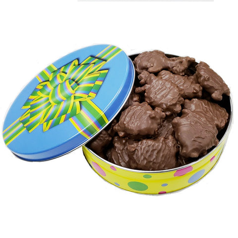 Chocolate Pecan Turtles Gift Tin-Half Nuts-1 lb.-Milk Chocolate-Half Nuts