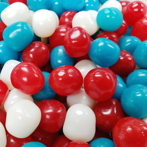 Red, white and blue fruit sours