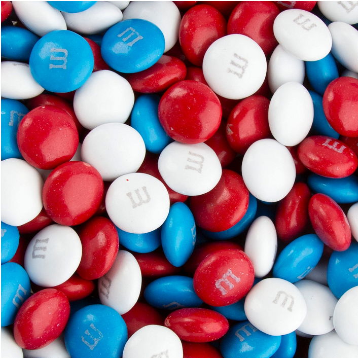 Red, White and Blue M&M's-Half Nuts-Half Nuts