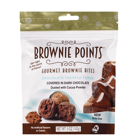Brownie Points Gourmet Brownie Bites - Dark Chocolate Truffle Fudge-Half Nuts-Half Nuts