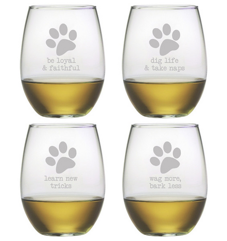 Stemless Glass Wine Glasses - Set of Four