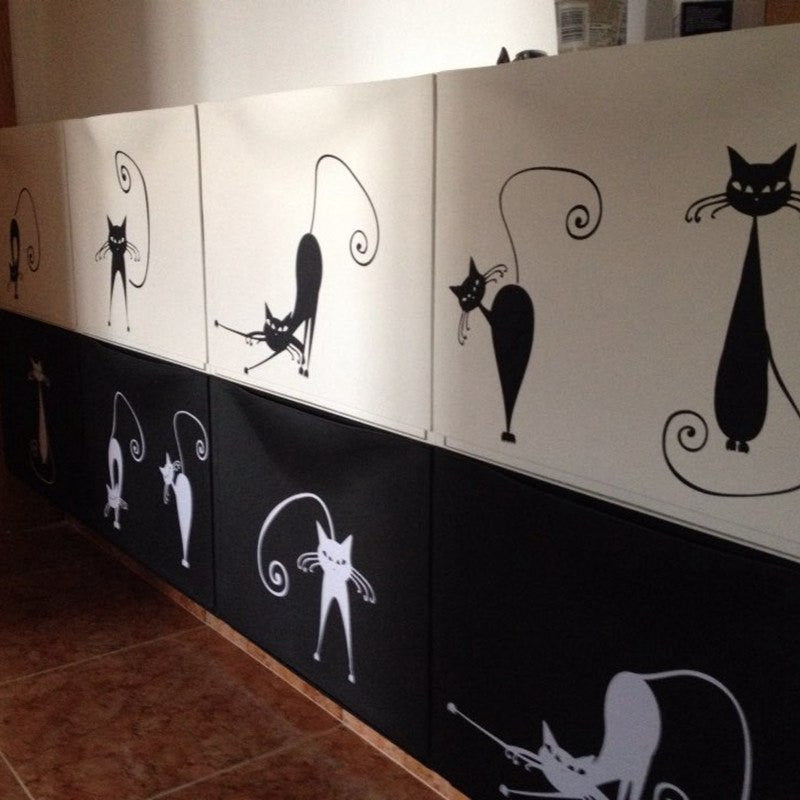 Home And Garden - Adorable Cat Wall Stickers - Set Of 5