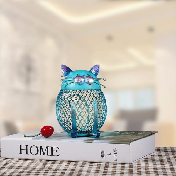 Home And Garden - Blue Cat Coin Bank Or Beautiful Home Decoration