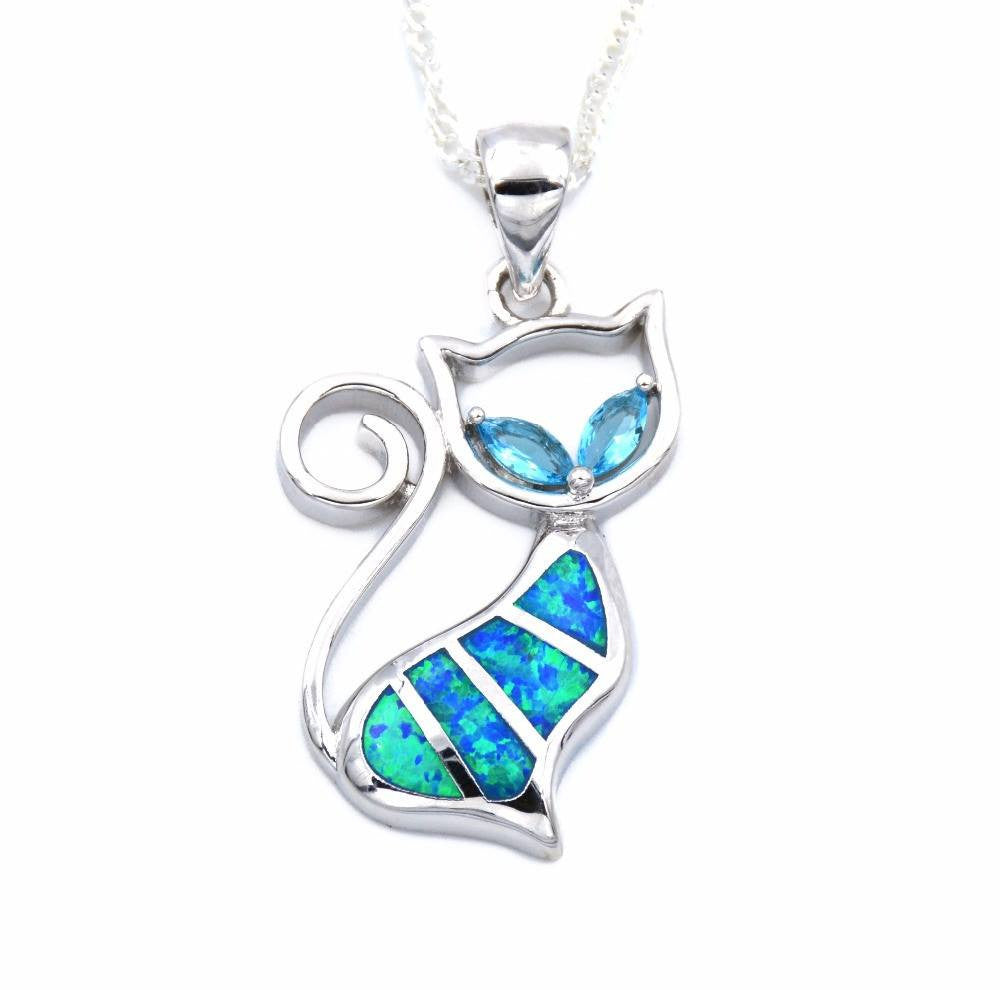 Jewelry And Watches - Curious Blue Opal Cat With Gem Eyes