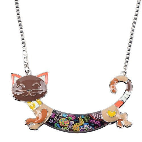 Jewelry And Watches - Enameled Cat Necklace