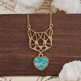 Jewelry And Watches - Hollow Cat Necklace With Gem