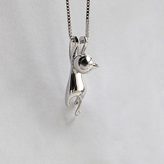 Jewelry And Watches - Silver Plated Hanging Cat Necklace