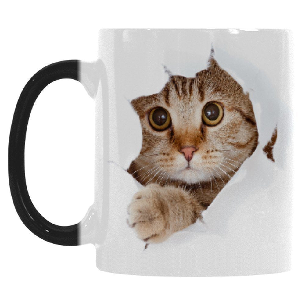 Mugs And Drinkware - Ceramic Breaking Out Cat Mug - Heat Sensitive
