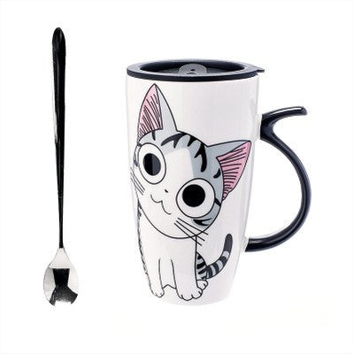 Mugs And Drinkware - Cozy Cat Ceramic Mugs With Lid And Spoon