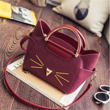 Purses And Bags - High End Cat Whisker Face Leather Messenger Bag