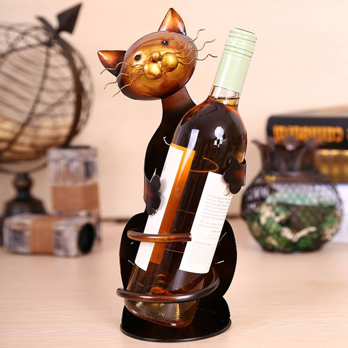 Slanted Cat Wine Bottle Holder Sculpture