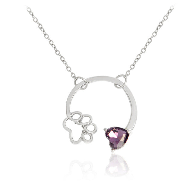 Birthstone Cat Necklace with Paw and Gem