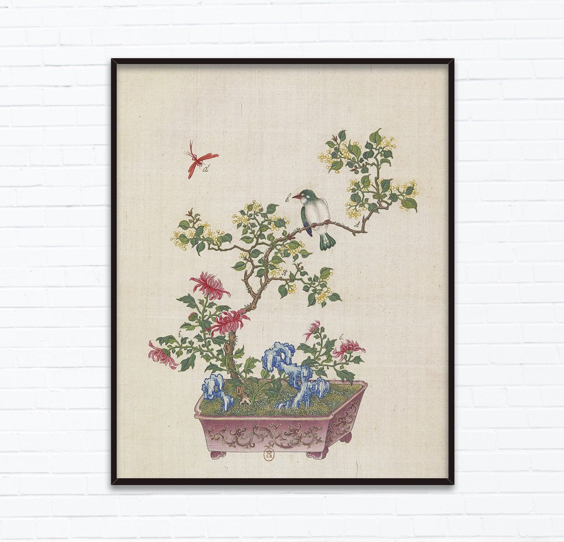 Buy 18th Century Chinese Bonsai Botanical Ink And Brush Painting Flowers And Birds Design Inspiration Wall Art Posters Instant Download At Lifeix