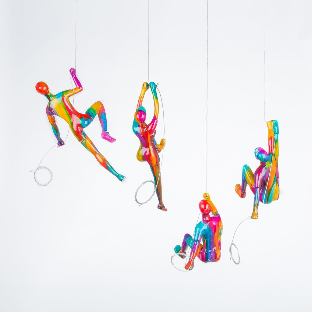 Multi-Color 4 Climbers Set- 100% hand crafted sculptures- Rainbow