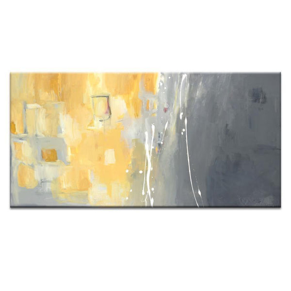 "Artwork 12x24x1.5"" 50 Shades of Gray and Yellow Artwork by Julie Ahmad"