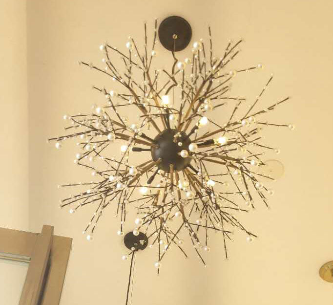 Pearl Tree Branches With Bulbs - Creative Sphere Glass Lighting Fixture