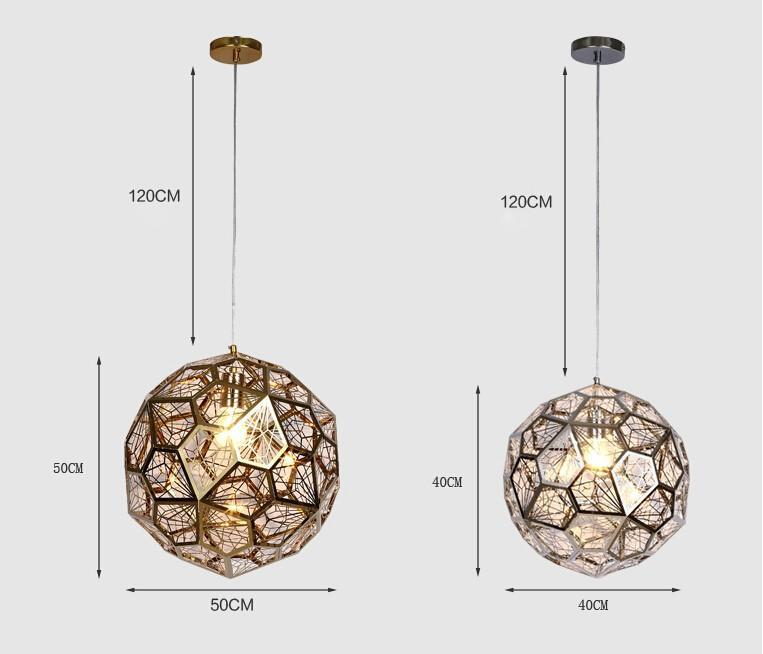 A Globe Of Pentagons - Unique Geometric Metal Mesh Artistic Pendant Light at Lifeix Design