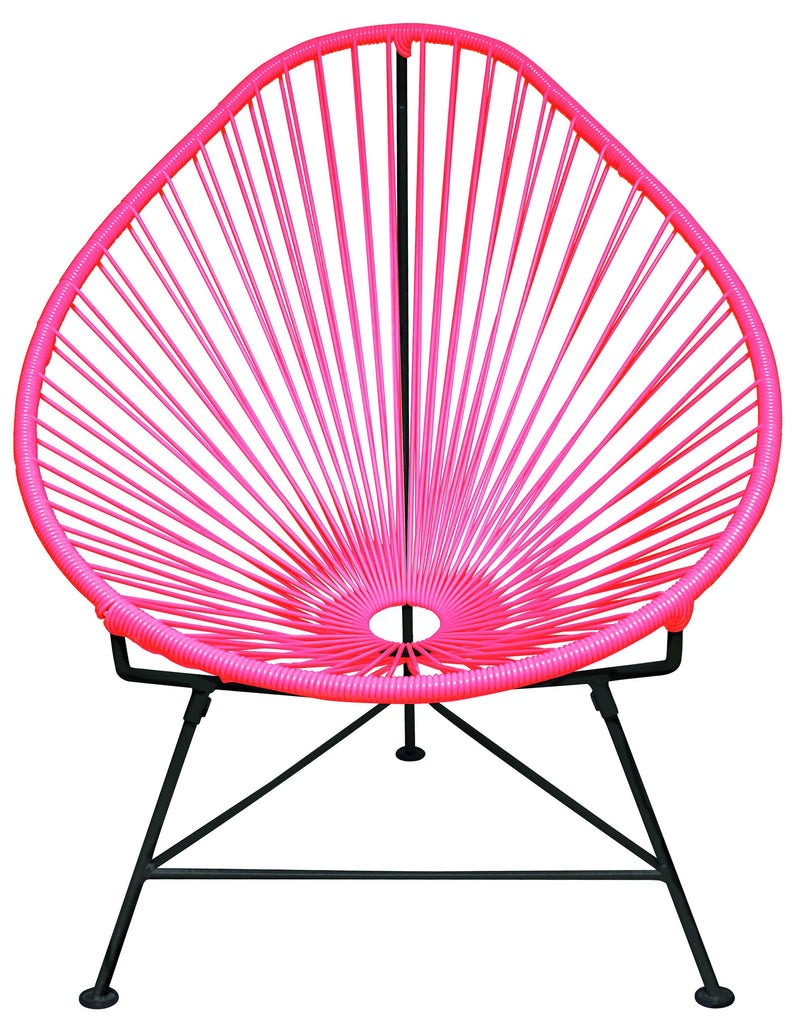 Outdoor Lounge Chair Pink Weave on Black Frame Acapulco Chair on Black Frame