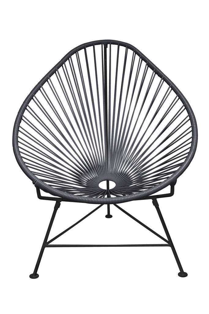 Outdoor Lounge Chair Grey Weave on Black Frame Acapulco Chair on Black Frame