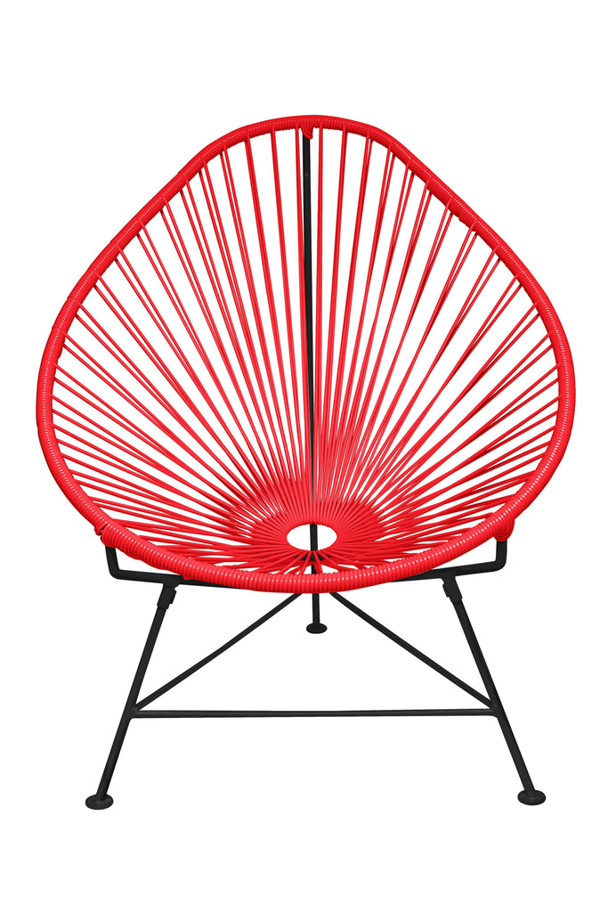 Outdoor Lounge Chair Red Weave on Black Frame Acapulco Chair on Black Frame