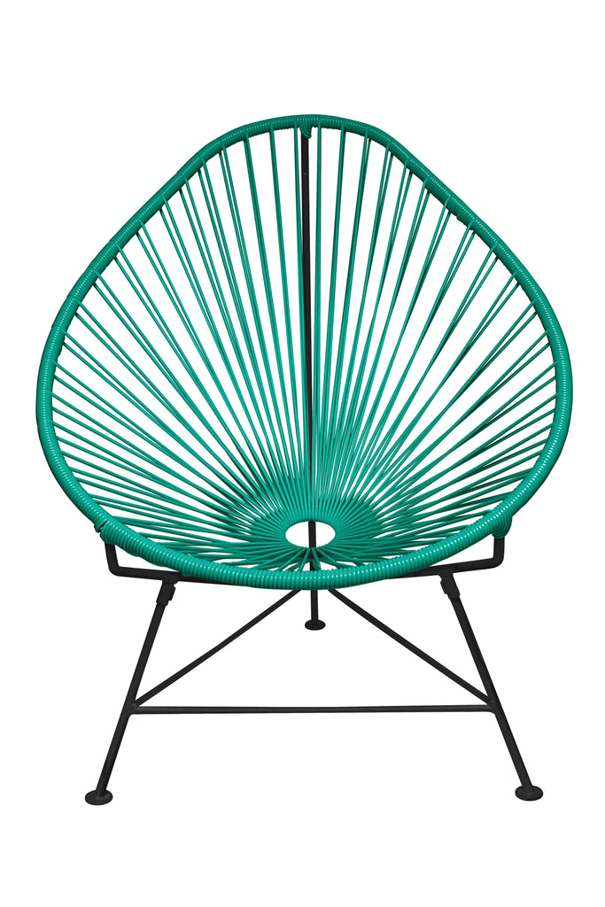 Outdoor Lounge Chair Turquoise Weave on Black Frame Acapulco Chair on Black Frame