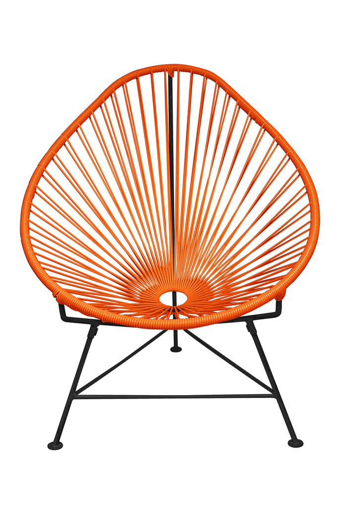 Outdoor Lounge Chair Orange Weave on Black Frame Acapulco Chair on Black Frame