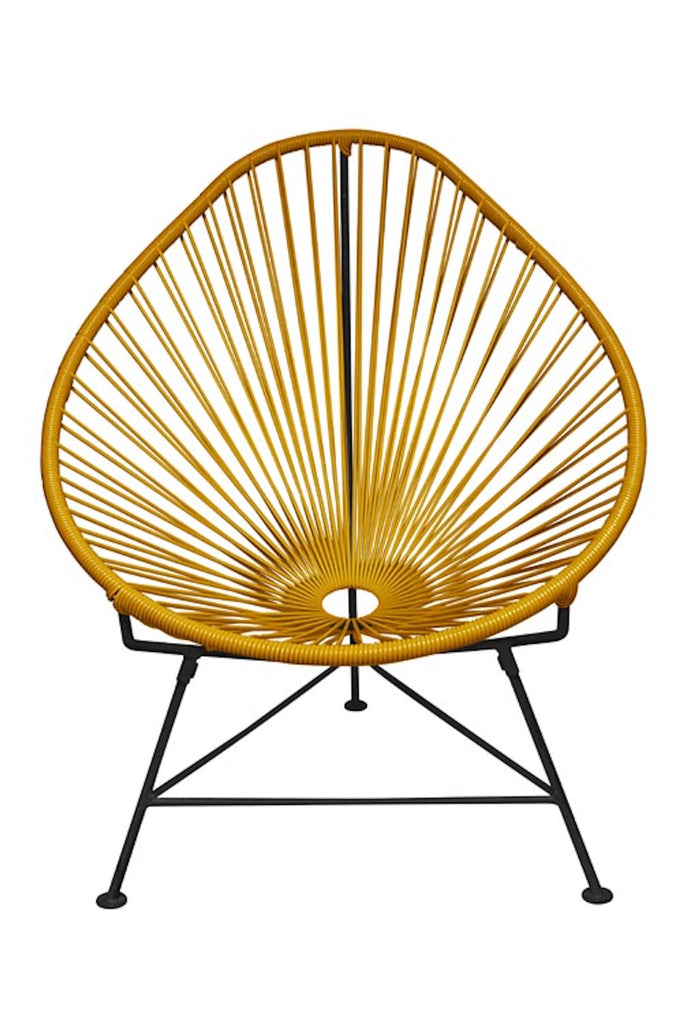 Outdoor Lounge Chair Caramel Weave on Black Frame Acapulco Chair on Black Frame