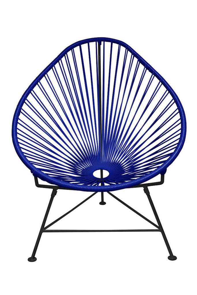 Outdoor Lounge Chair Deep Blue Weave on Black Frame Acapulco Chair on Black Frame