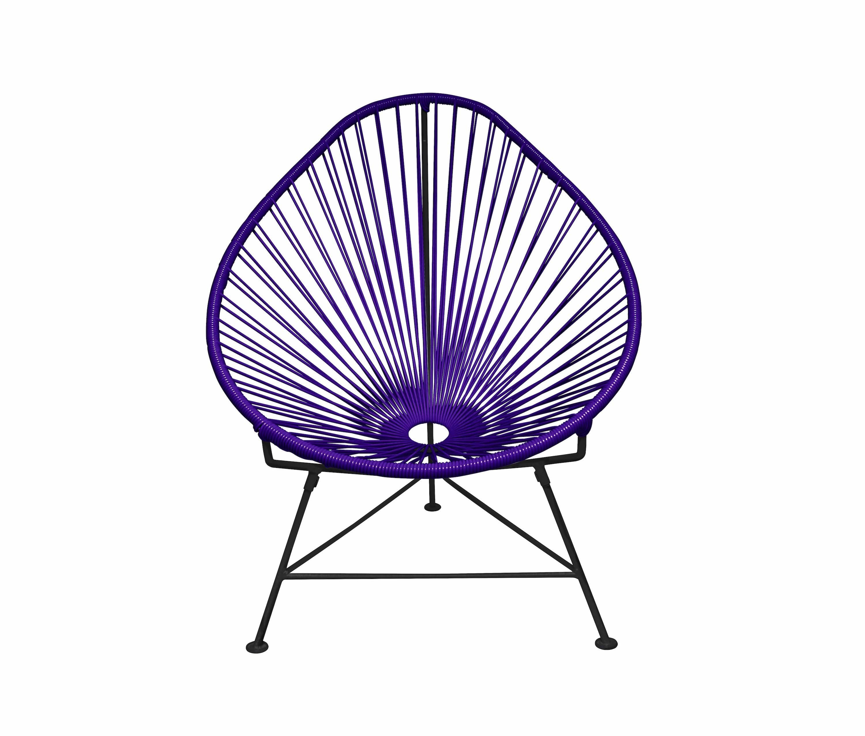 Outdoor Lounge Chair Purple Weave On Black Frame Acapulco Chair On Black  Frame