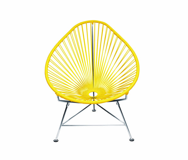 Outdoor Lounge Chair Yellow Weave on Chrome Frame Acapulco Chair on Chrome Frame