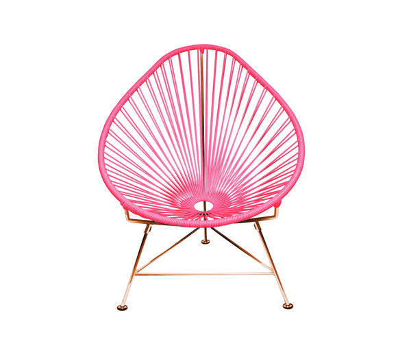Outdoor Lounge Chair Pink Weave on Copper Frame Acapulco Chair on Copper Frame