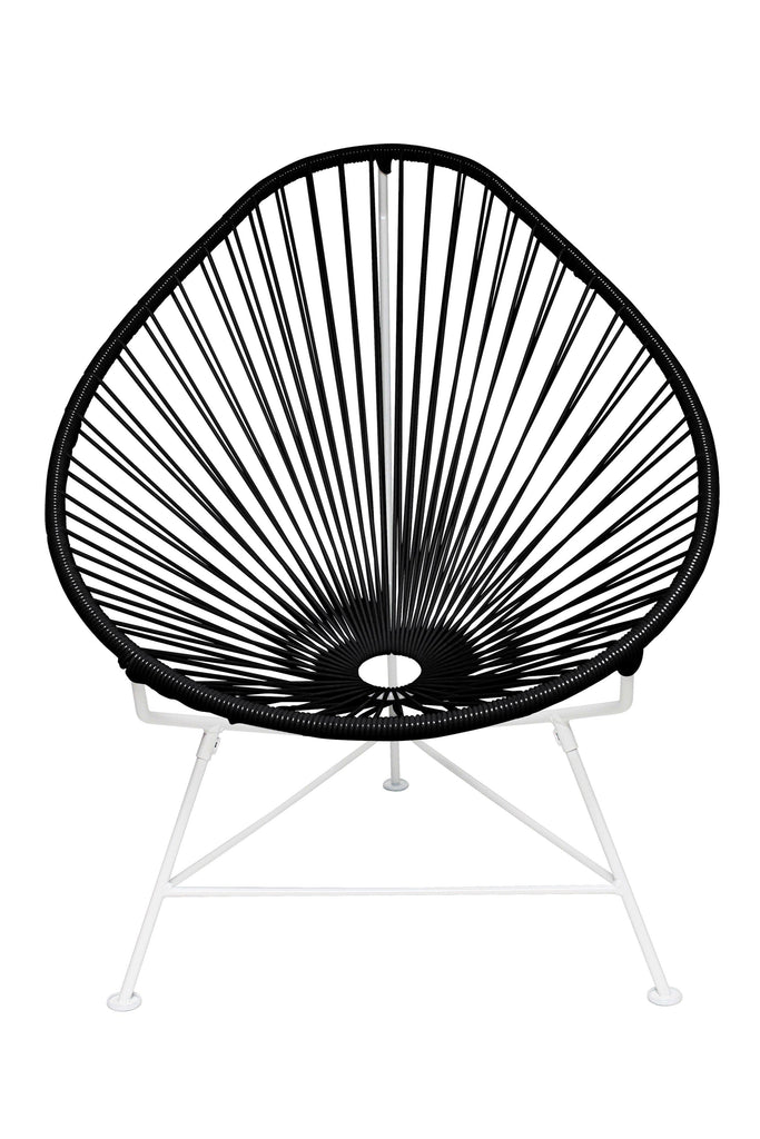 Outdoor Lounge Chair Black Weave on White Frame Acapulco Chair on White Frame