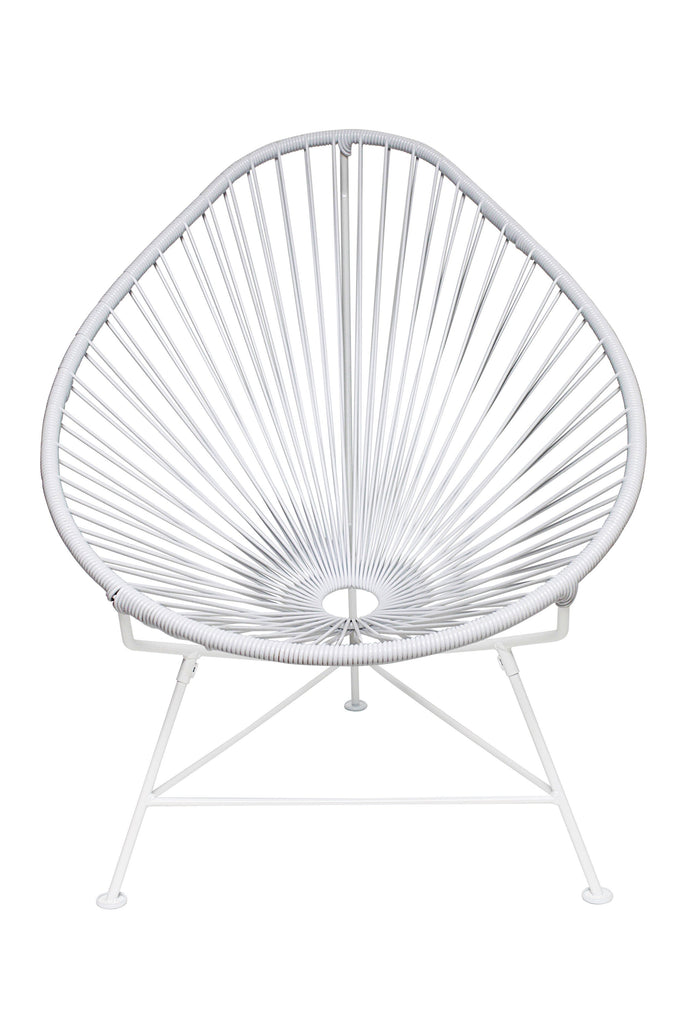 Outdoor Lounge Chair White Weave on White Frame Acapulco Chair on White Frame